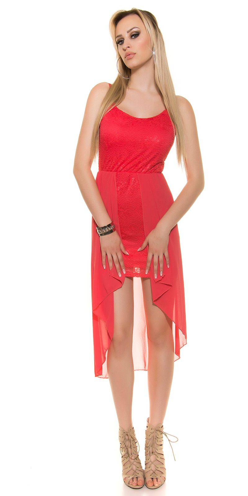 koucla highlow kleid spitze chiffon abendkleid vokuhila minikleid hochzeit rot ebay. Black Bedroom Furniture Sets. Home Design Ideas