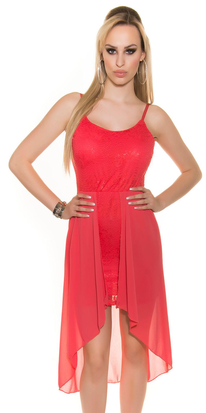 Koucla highlow kleid spitze chiffon abendkleid vokuhila minikleid hochzeit rot ebay - Vokuhila kleid chiffon ...