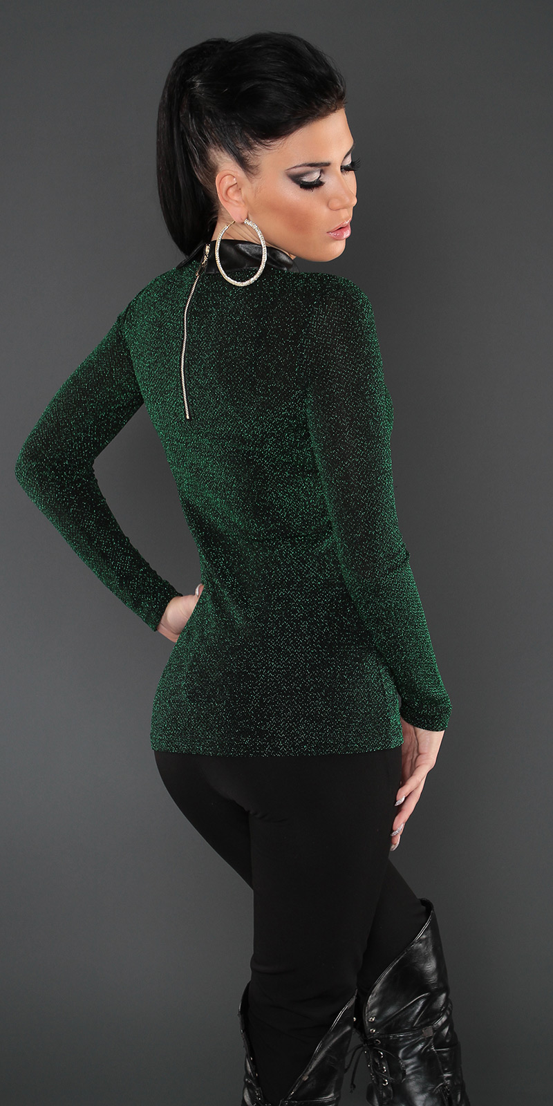 koucla pullover nieten kragen zip bluse longpullover. Black Bedroom Furniture Sets. Home Design Ideas