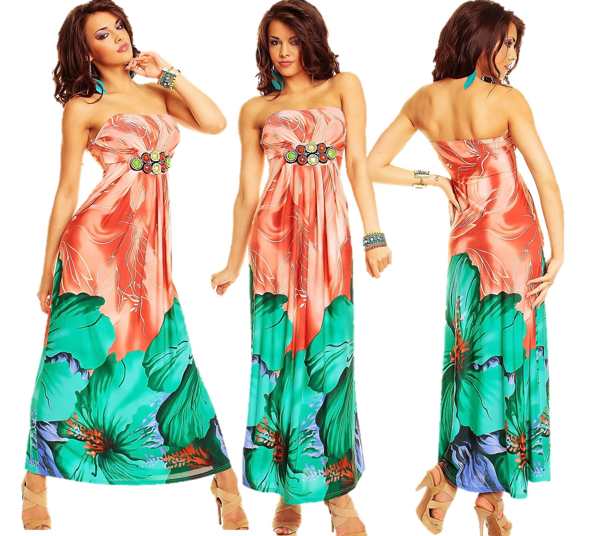 Details zu Kleid Maxikleid Bandeau Kleid Strass Perlen Blumen-Motiv  Abendkleid Sommer Party