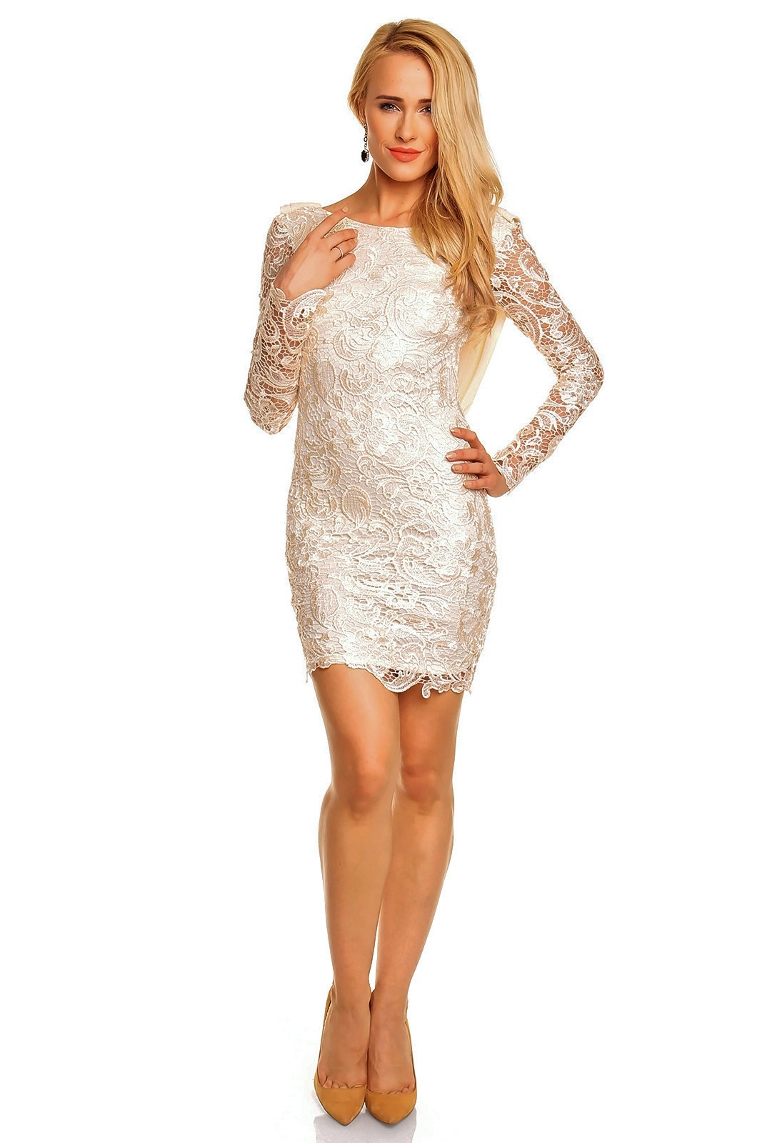 Mayaadi Kleid Minikleid Chiffon Häkel Spitze Abendkleid Spitzenkleid ...