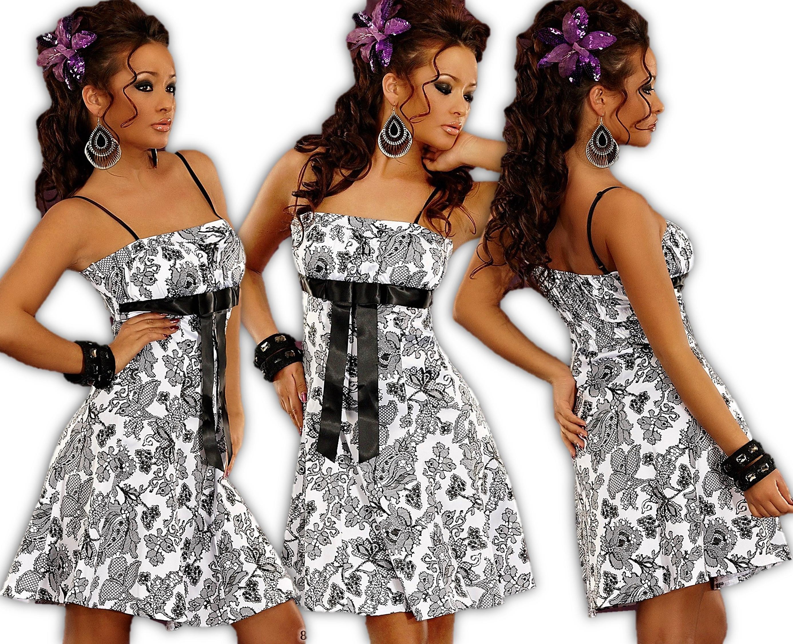 Kleid Minikleid Bandeaukleid Spitze Satin Babydoll Abendkleid ...