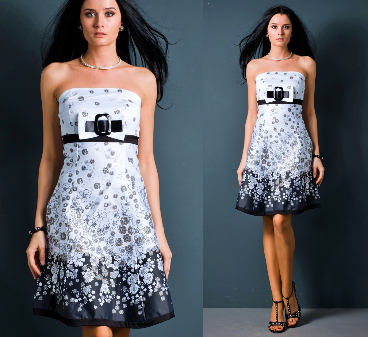Kleid Minikleid Satin Schleife Bandeaukleid Babydoll Abendkleid ...
