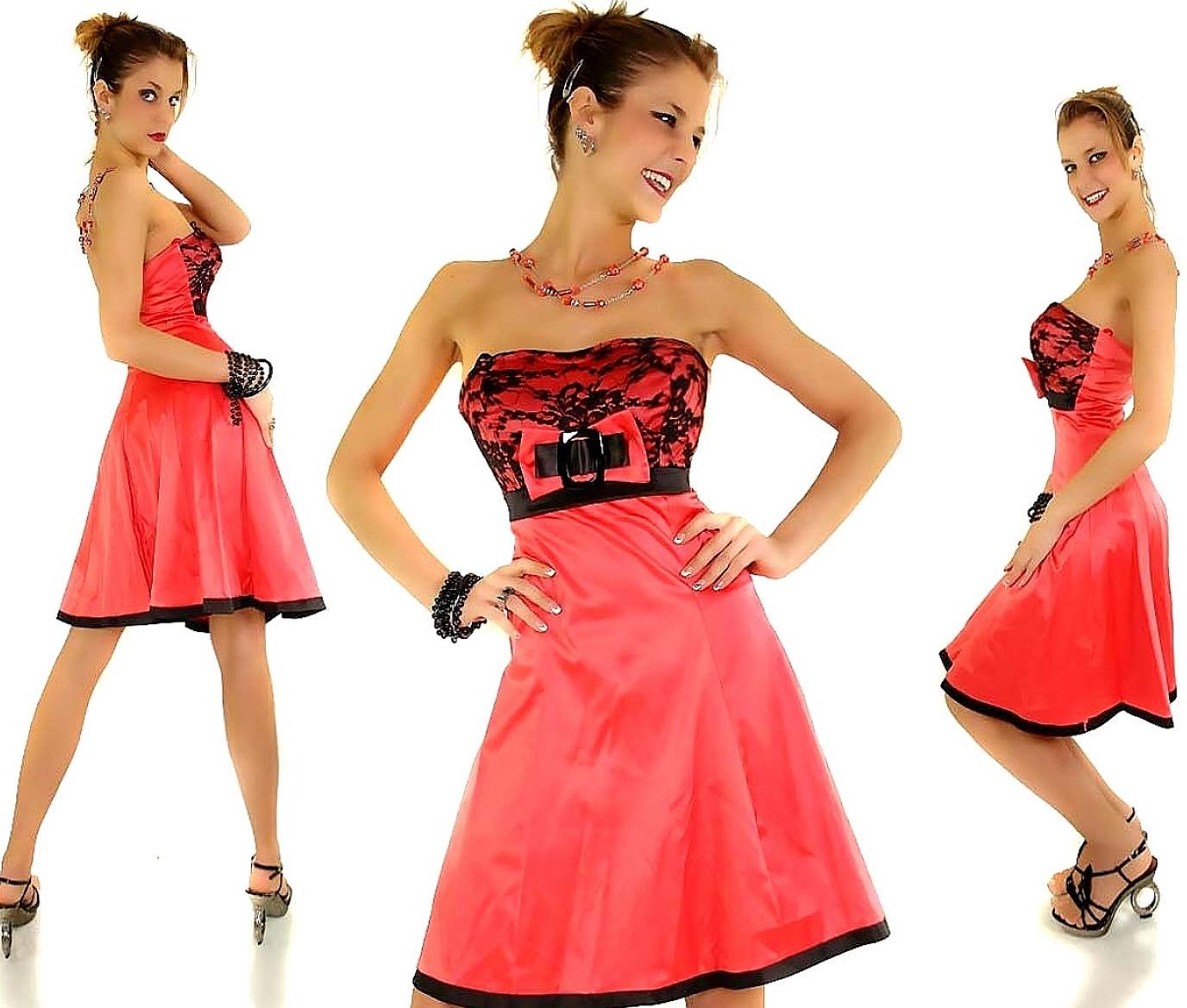 Kleid Minikleid Spitze Bandeaukleid Satin Schleife Babydoll ...
