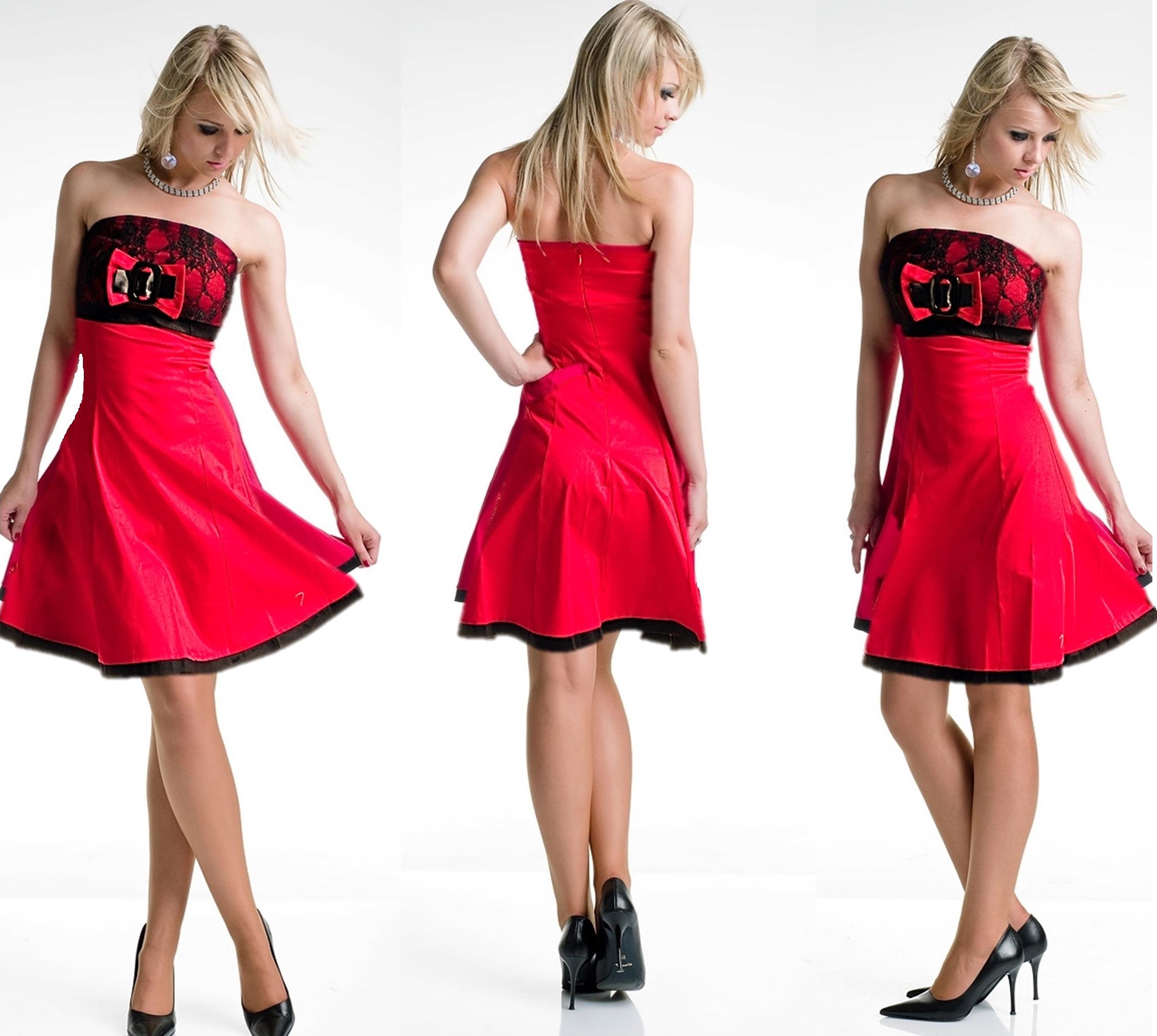 Kleid Minikleid Spitze Abendkleid Satin Schleife Bandeaukleid ...
