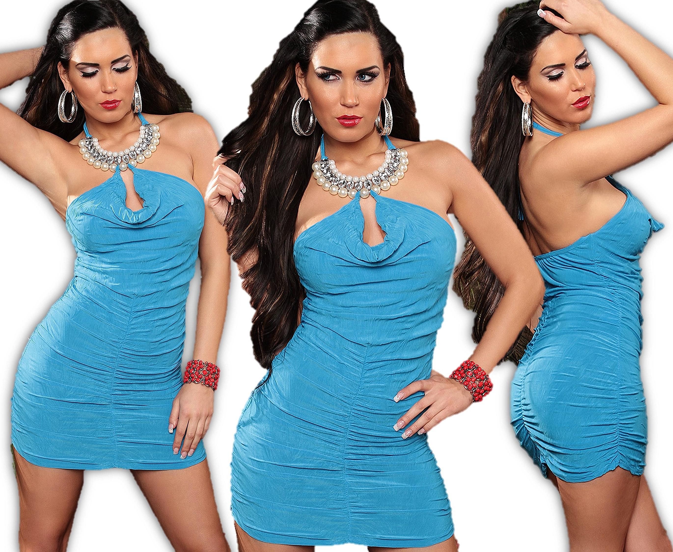 Sexy Minikleid Neck Kleid Cut Out Perlen Strass Collier Abendkleid ...