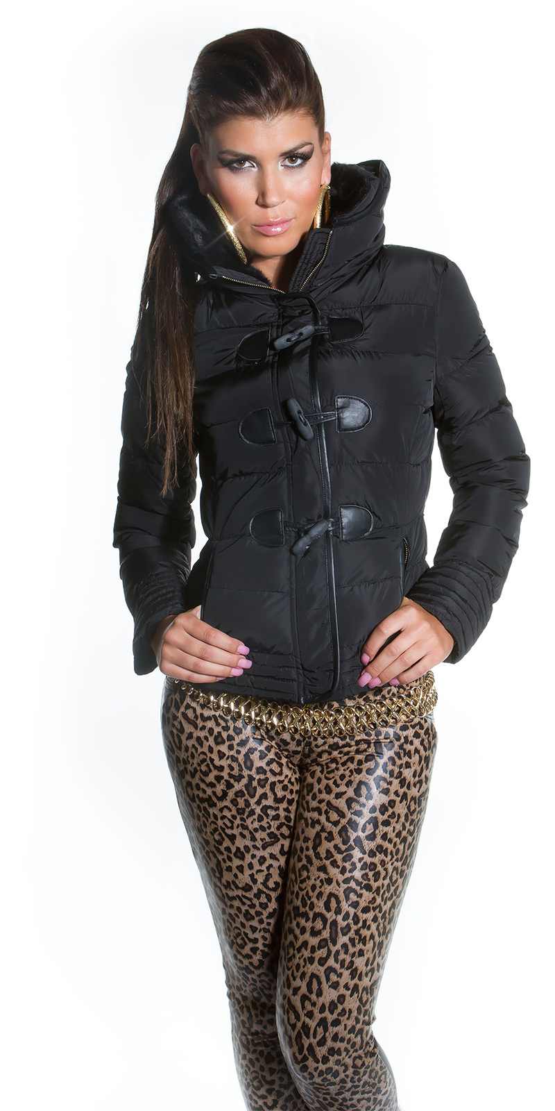 koucla damen jacke steppjacke jacket daunen look fake fur fellkragen kapuze sw ebay. Black Bedroom Furniture Sets. Home Design Ideas
