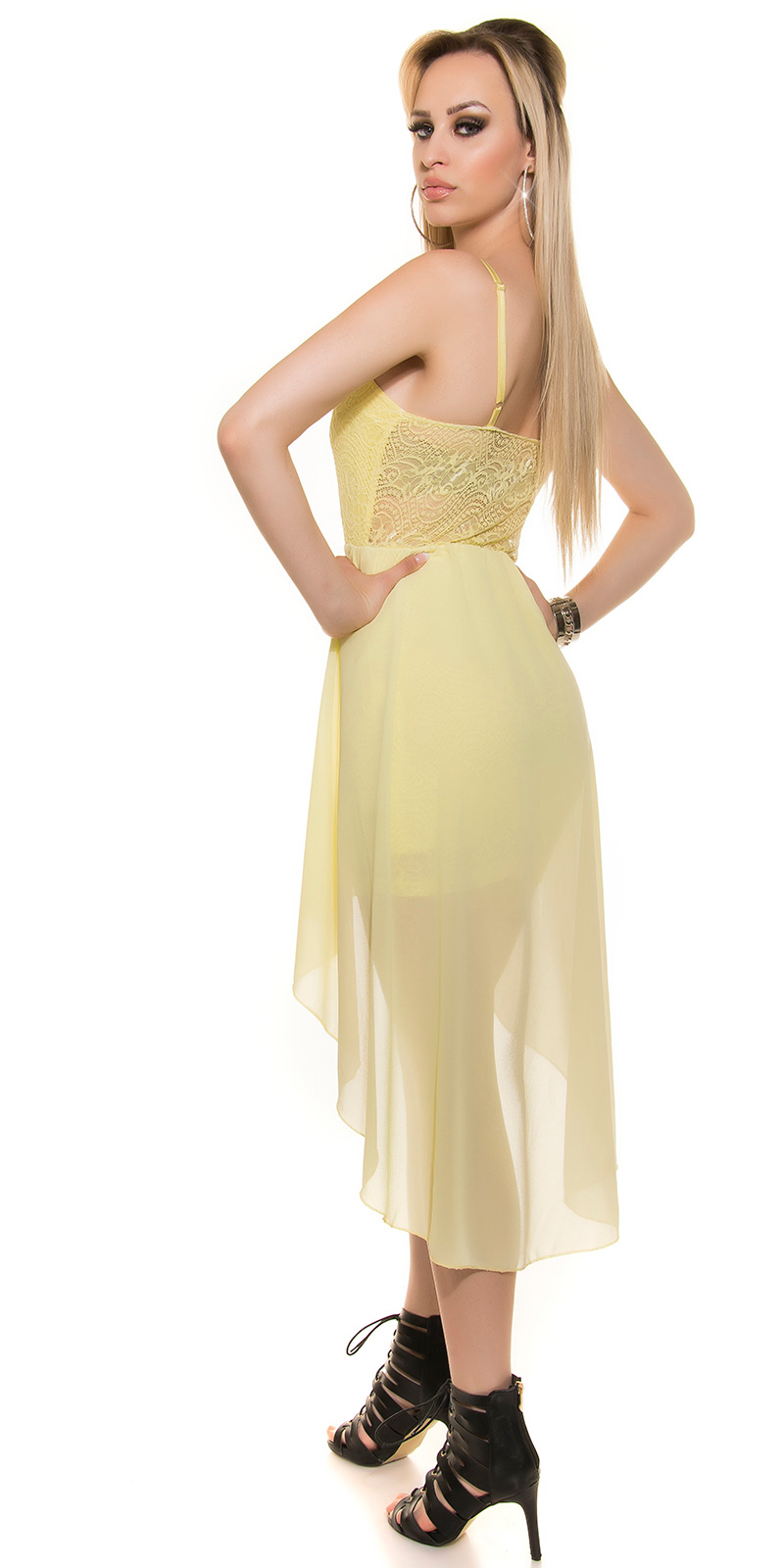 KouCla HighLow Kleid Spitze Chiffon Abendkleid Vokuhila Minikleid ...