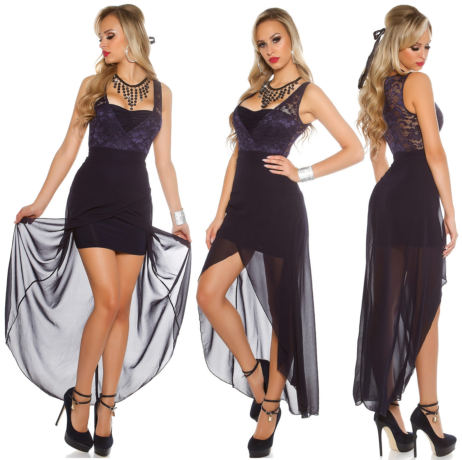 vokuhila kleid spitze chiffon highlow abendkleid minikleid hochzeit koucla dress ebay. Black Bedroom Furniture Sets. Home Design Ideas