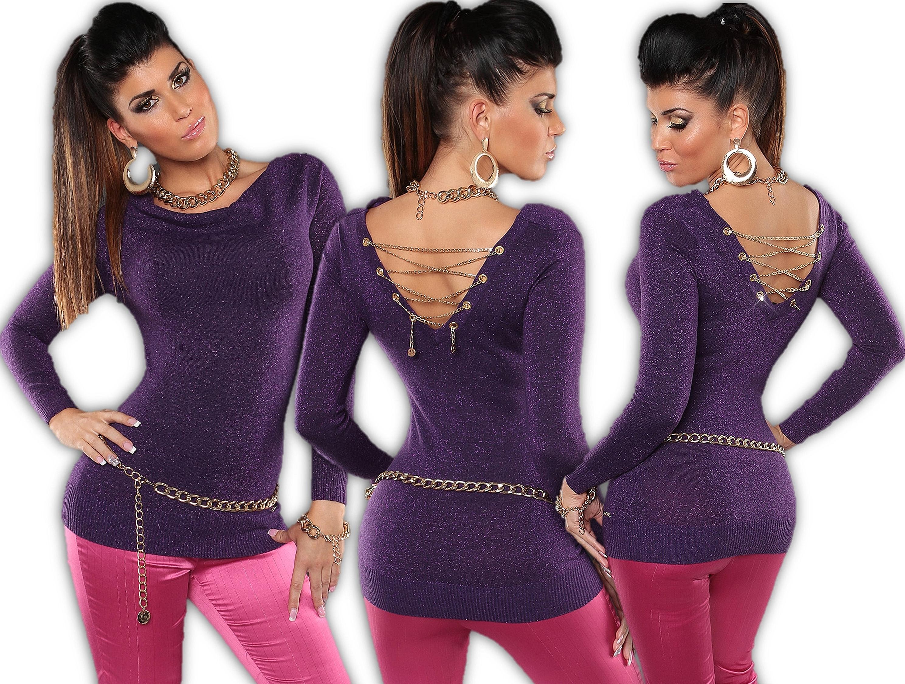 KOUCLA-pullover-maglione-lungo-vestito-di-Maglia-Felpa-Cutout-CATENE-lacci-L