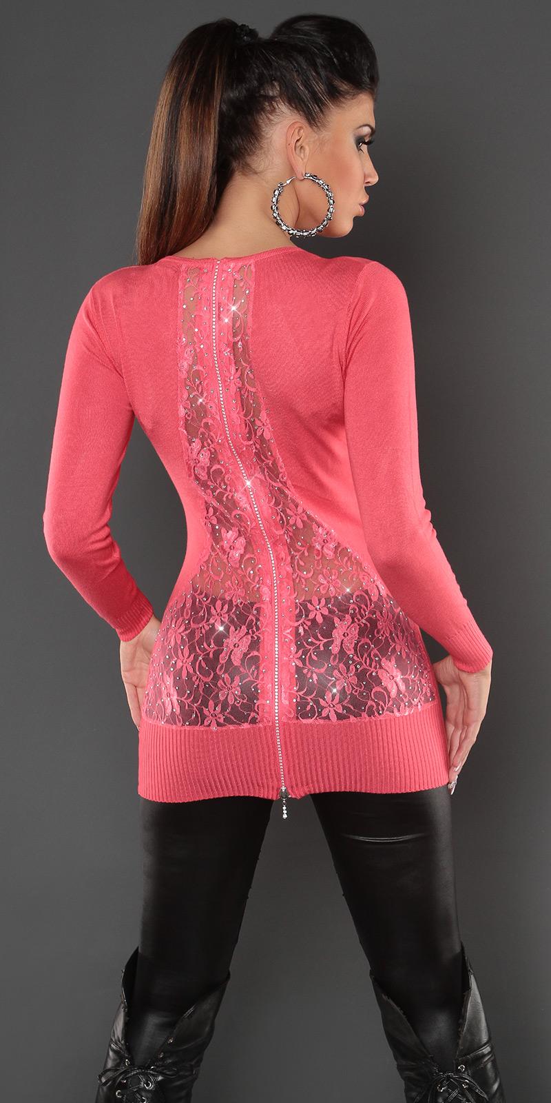 koucla longpulli spitze zip strass pullover longpullover strickkleid sweater cor ebay. Black Bedroom Furniture Sets. Home Design Ideas