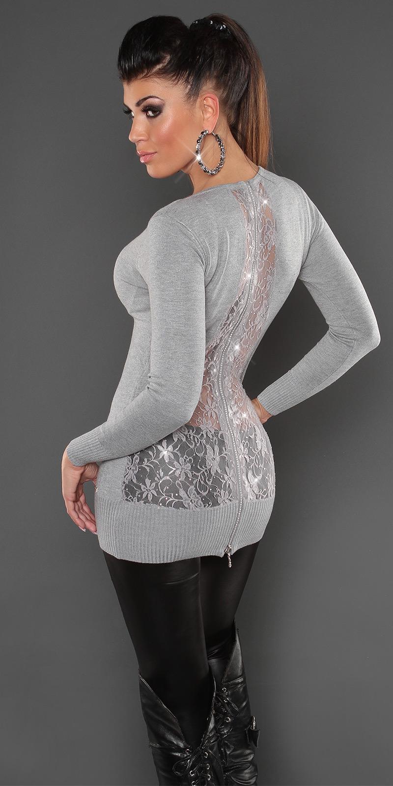 koucla longpulli spitze strass zip pullover longpullover strickkleid sweater gra ebay. Black Bedroom Furniture Sets. Home Design Ideas