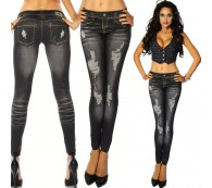 LEGGINGS LEGGINS JEANS LOOK JEGGINGS RÖHRE TREGGINGS SCHWARZ XS S M L