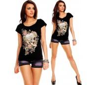 T-Shirt Tattoo Skull Tanktop mit Strass Top/Longshirt/Longtop schwarz