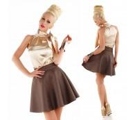 Sexy Rock Glockenrock Rockabilly Skirt Velour Leder Optik braun