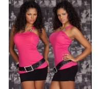 One Shoulder Top/Longtop/Longshirt/Partytop mit Strassträger pink