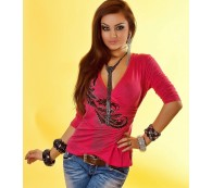 BLUSE WICKELBLUSE STRETCHBLUSE WICKELSHIRT TATTOO PINK A M/L n2