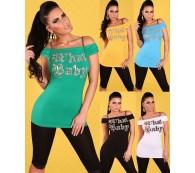 Carmen Top mit Ketten und Pailletten Longshirt/T-Shirt/Longtop/Tunika