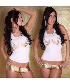Sexy Top Tanktop Shirt Longtop Longshirt Handabruck-Goldprint weiß