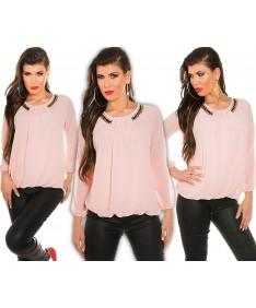 KouCla Bluse Chiffon Top mit Kette Langarm Shirt Oversize Tunika Longtop XS-L